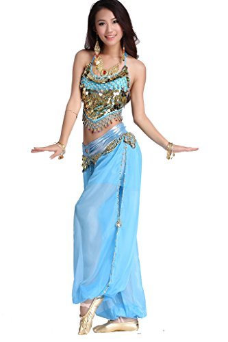 ZLTdream Lady's Belly Dance Chiffon Banadge Top and Lantern Coins...