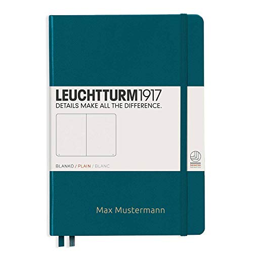Leuchtturm1917 Notitieboek personaliseerbaar met naam | formaat A5 | kleur zwart | liniatuur blanco A5 Pacific Green.