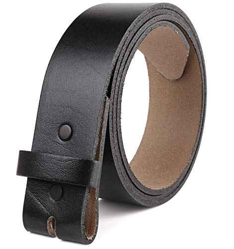 Belt for buckle men Snap on Strap top Grain One Piece Leather no buckle,Gift Box, Made in USA, Black size 50