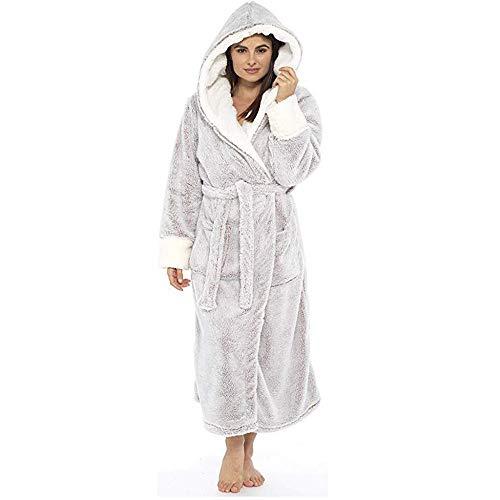Albornoz de Manga Larga de otoño e Invierno para Mujer Bata de baño con Capucha Alargado Albornoz Robe Grueso y cálido Casual Pijama Felpa 304