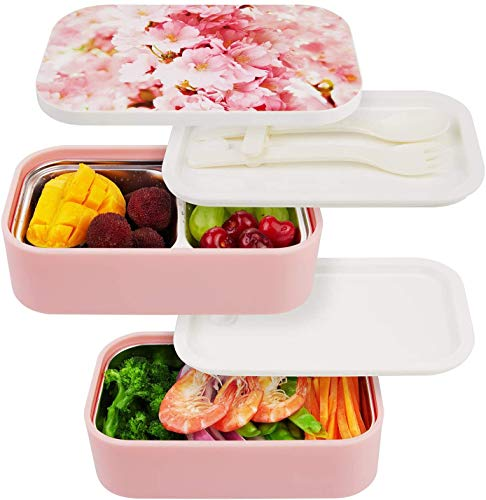 Stainless Steel Bento Box - All-in-One Leak Proof Stackable Container - Modern Bento-Style Design , Built-in Plastic Utensil Set, and Nylon Sealing Strap ( Cherry )