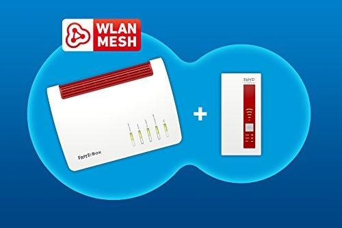 AVM FRITZ! Mesh Set (FRITZ!Box 7590 und WLAN Repeater 1750E, Dual-WLAN AC bis 1.733 MBit/s (5 GHz) und N bis 800 MBit/s (2,4 GHz), bis 300 Mbit/s durch VDSL-Supervectoring 35b, deutschspr. Version)