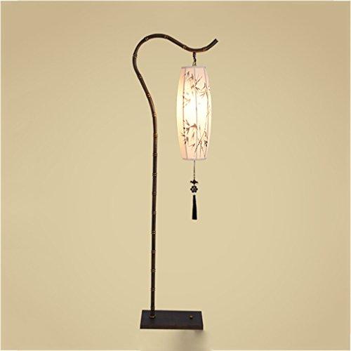 Lámpara de pie Nueva lámpara de pie de hierro forjado chino, lámpara de bambú antigua, lámpara de pie de sala de estudio de arte moderno, H165cm lámpara de lectura