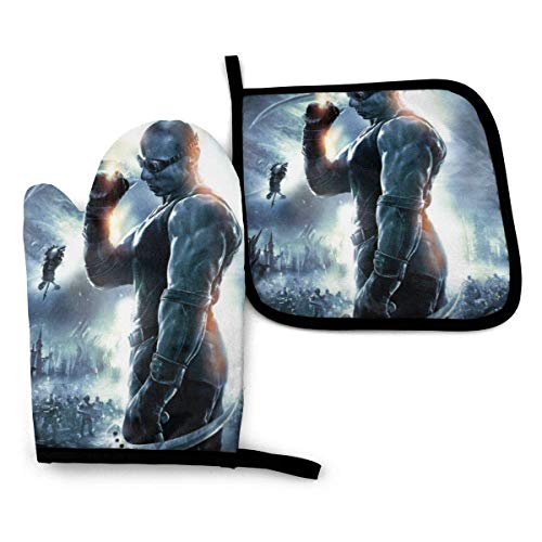 shenguang Chronicles of Riddick Oven Mitts and Pot Holders Sets Non-Slip Heat Resistance Mats Kitchen Cooking Gloves (1 Oven Mitt + 1 Potholder)