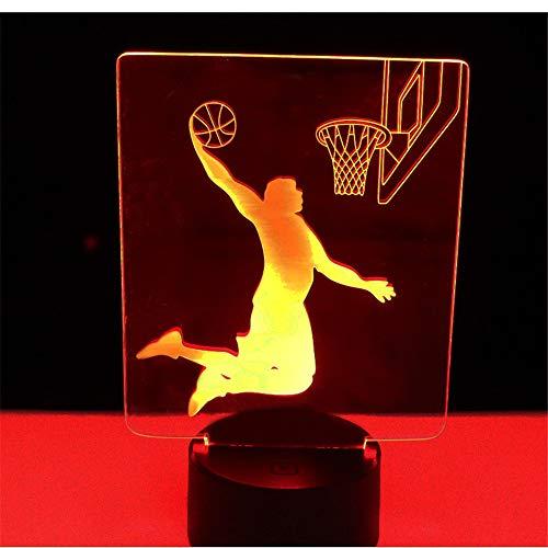 Lampe d'illusion de lumière de nuit 3D, jouer au basket-ball avec la lumière de 7 couleurs pour la décoration Dunk, lampe visuelleoptique