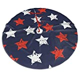 Christmas Tree Skirt, American Flag Day Memorial Day Patriotic Freedom Stars Xmas Large Tree Mat, New Year Festive Holiday Party Decorations 30' inches