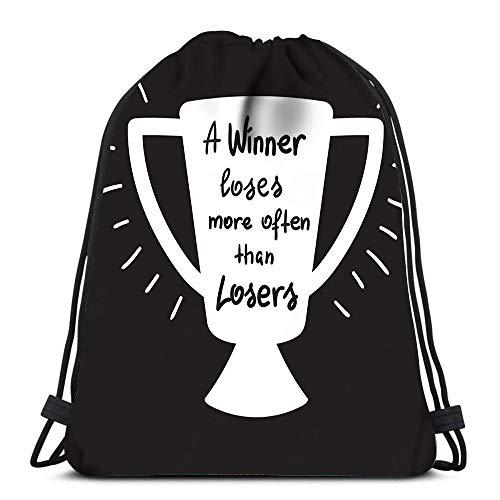 N / A Verstellbar Sport-Beutel,Jugendliche Drawstring Bag,Kordelzug Rucksack Tasche,Drawstring Backpack Damen Herren,Gewinner Verliert Öfter Als Verlierer Wäschesack Gym Yoga Bag Schulrucksack