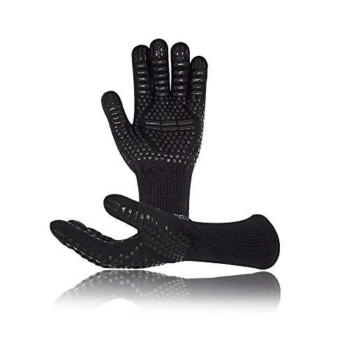 1 par Guantes Barbacoa, Vegena Guantes Barbacoa Altas Temperaturas BBQ Gloves Certificación EN407 Resistentes al Calor hasta 800℃ / 1472℉ para Cocina, Parrilla, Hornear, Microondas