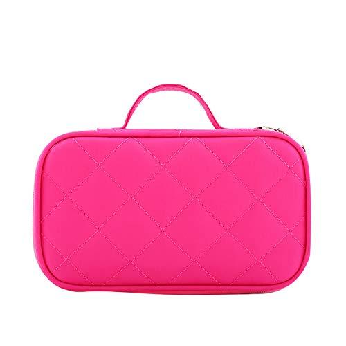 Bolsa de almacenamiento de viaje para picnic, cosméticos, cosméticos, cosméticos, artículos de aseo y lavado, organizador grande (rojo rosa)