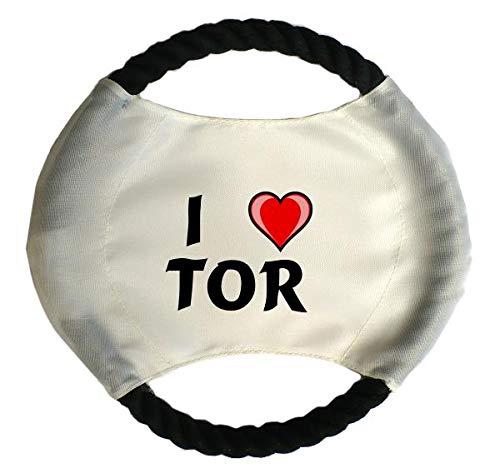 Personalisierter Hundefrisbee mit Aufschrift Ich liebe Tor (Vorname/Zuname/Spitzname)