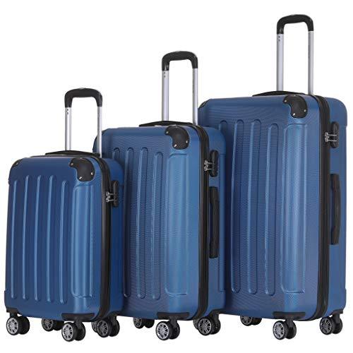 BEIBYE Zwillingsrollen Hardcase Reisekoffer Koffer Trolleys Hartschale in XL-L-M in 14 Farben (Diamondblau, Kofferset)
