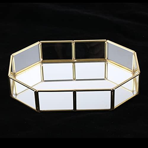 LANL Caja de almacenamiento cosmética de metal dorado, bandeja decorativa, bandeja de almacenamiento de joyas, caja de recuerdo para el día de San Valentín para las mujeres