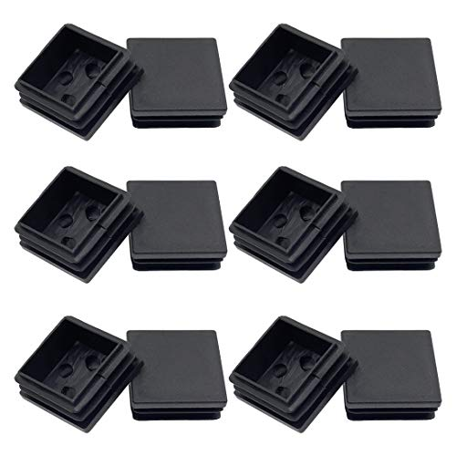 Suiwotin 12Pack 38mm (1 1/2 Inch) Square Plastic Plug, Square Tubing End Caps, Tubing Post End Cap for Square Tubing/Black Plastic Square Plugs