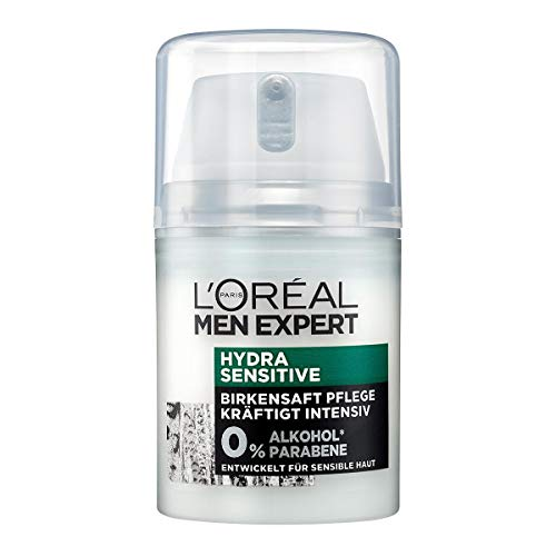 L\'Oréal Paris Men Expert Gesichtspflege für Männer, Gesichtscreme ohne Alkohol oder Parabene, Hydra Sensitive Feuchtigkeitscreme, 1 x 50 ml