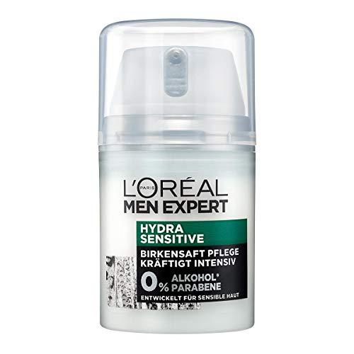 L'Oréal Paris Men Expert Gesichtspflege für Männer, Gesichtscreme ohne Alkohol oder Parabene, Hydra Sensitive Feuchtigkeitscreme, 1 x 50 ml