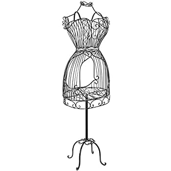 MyGift Vintage Designers Black Metal Adjustable Wire Frame Dress Form Display Stand/Freestanding Mannequin Garment Rack