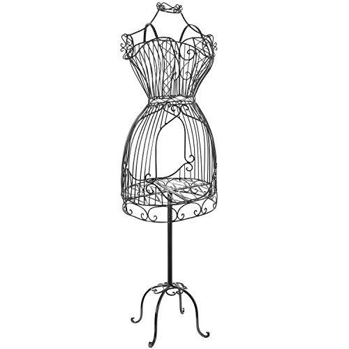 MyGift Vintage Designers Black Metal Adjustable Wire Frame Dress Form Display Stand/Freestanding Mannequin Garment Rack