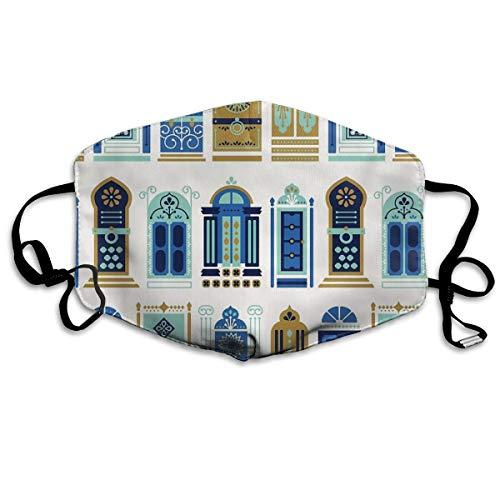 Houity stofdicht wasbaar, Marokkaanse deuren blauw & goud palet, zacht, ademend, wasbaar, knop verstelbaar, geschikt voor mannen en vrouwen