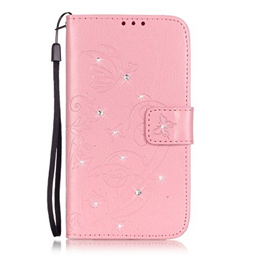 Moto G4 / G4 Plus Case, Everun Fashion 3D Handmade Bling Crystal PU Leather Flip Wallet Case with Card Slots for Motorola Moto G 4th Generation [Pink]