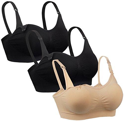 iloveSIA Womens Wireless Nursing Bra Seamless Breastfeeding Bra 2 Black 1 Nude Size M
