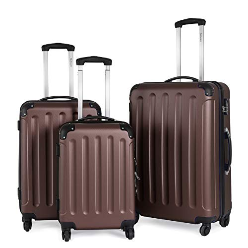 Goplus 3Pcs Luggage Set, Hardside Travel Rolling Suitcase, 20/24/28 Rolling Luggage Upright, Hardshell Spinner Luggage Set with Telescoping Handle, Coded Lock Travel Trolley Case (Brown)