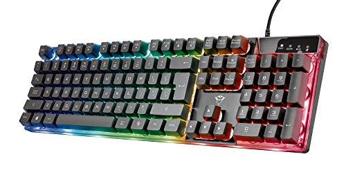 Trust Gaming GXT 835 Azor Gaming Tastatur mit Beleuchtung Deutsches QWERTZ Layout Tastaturlayout in Originalgrose 3 LED Farbmodi Anti Ghosting 12 Multimedia Funktionstasten PCLaptop