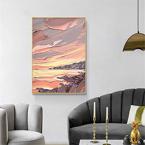 Geiqianjiumai Modern decoratief schilderij grote kleur abstract linnen schilderij huis muurkunst woonkamer schilderij frameloos schilderwerk