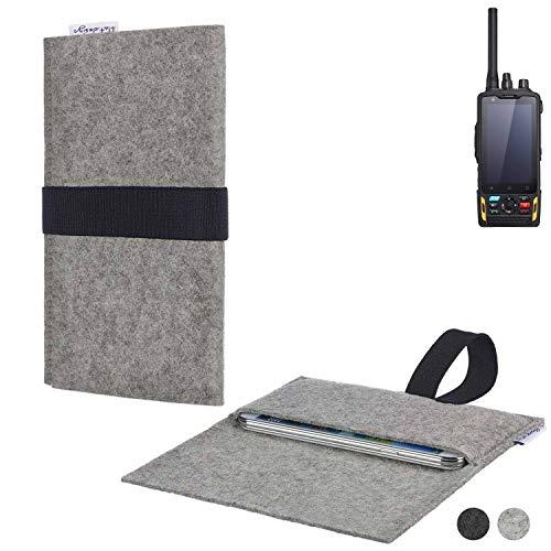 flat.design Handy Hülle Aveiro für Ruggear RG760 passgenau Handytasche Filz Tasche Etui Case fair schwarz hellgrau