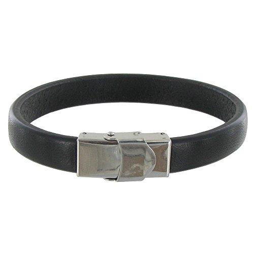 Schmuck Les Poulettes - Herren Armband Leder Schwarz Breite Stahl Schließe - grobe 19 cm