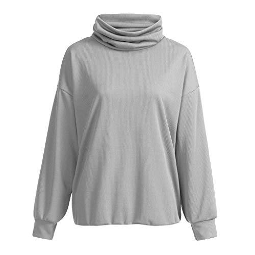 2019 Sale Women Loose Solid Color Sweatshirt Cozy Turtleneck Jumpers Pullover Blouse Top Grey