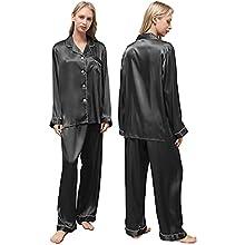 Ladieshow Pijamas Satén para Mujer, Pijamas Set Mujer Manga Larga Elegante y Moda, Largo Conjunto de Pijamas Camisón Seda para Mujer, 2 Piezas Ropa de Dormir con Botones Suave y Sedosa (Negro, S)