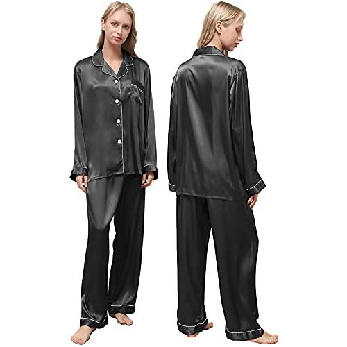 Ladieshow Pijamas Satén para Mujer, Pijamas Set Mujer Manga Larga Elegante y Moda, Largo Conjunto de Pijamas Camisón Seda para Mujer, 2 Piezas Ropa de Dormir con Botones Suave y Sedosa (Negro, L)