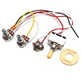 SAPHUE Guitar Wiring Harness Set Prewired 500K Pots 3 Way Toggle Switch Wiring Harness Kit with 6.35 Output for Electric Guitar
