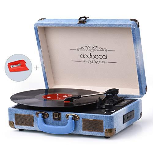 dodocool Tocadiscos Blue Tooth de Estilo Vintage, Giradiscos de Tres Velocidades con Altavoces Estéreo, Salida RCA, Conector para Auriculares, Grabación por USB y Tarjetas SD (Azul)