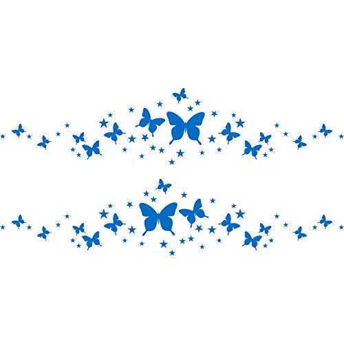 ThatVinylPlace - Adesivo in vinile per la cameretta dei bambini, con farfalle scintillanti e romantiche stelle (30 cm x 60 cm), colore a scelta, 18 colori disponibili in magazzino, camera dei bambini, adesivi per la camera dei bambini, vinile per auto, finestre e pareti, decalcomanie, decorazione in vinile, Vinile, Blu medio, 60 x 30 cm