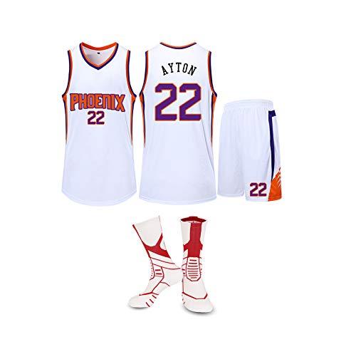 GBY Phoenix Suns No.22 Deandre Ayton Adult Mesh-Basketball Jersey können mehrere gewaschen Werden Times, mit kurzen Ärmeln/Shorts und Socken × 1, L-5XL White-XL