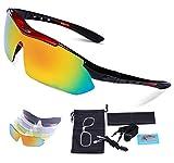 Carfia Gafas de Sol Deportivas Polarizadas, TR90 UV400 Unisex Gafas de Sol Deportivas Polarizadas 5 Lentes de Cambios Incluido para Deporte y Aire Libre Ciclismo Conducción Pesca Esquiar Golf Correr