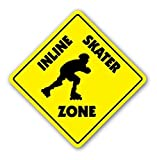 DOGT New Metal Sign Inline Skater Zone Sign Xing Skating Skates Roller Gift Aluminum Metal Tin Sign Square Sign Warning Sign 12x12 inch