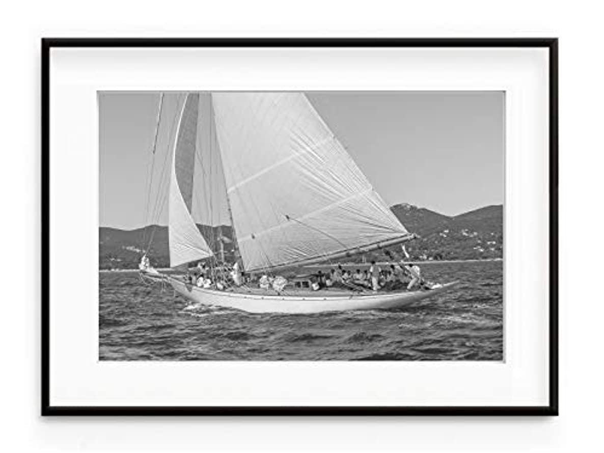 Solid Oak Sailing Boat, Natural Frame, with Mount, Multicolored, 70x100