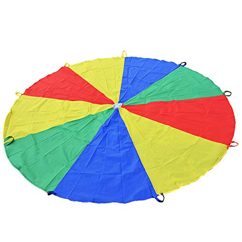 Sonyabecca Parachute for Kids 6' with 9 Handles Game Toy for Kids Play