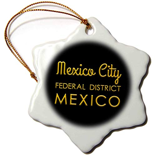 Alexis Design Mexican Cities Gold on Black Mexico City Mexico Yellow Text on Black Patriot Home Town Gift Christmas Ornaments for Kids Christmas Tree Decoration Ceramic 3 Inches