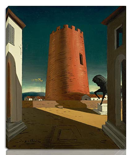 Berkin Arts Giorgio De Chirico Stretched Giclee Print On Canvas-Famous Paintings Fine Art Poster Reproduction Wall Decor-Ready to Hang(Rose Tower)#NK