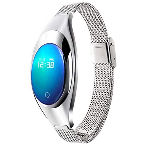 HCHL Reloj Inteligente Deportivo Bluetooth para Mujer, Pulsera Inteligente de frecuencia cardíaca, monitorización del sueño, podómetro, oxígeno en Sangre, presión Arterial (Color : Silver)
