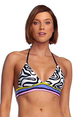 Trina Turk Women's Standard Banded Halter Hipster Bikini Swimsuit Top, Black//Zebra, 10