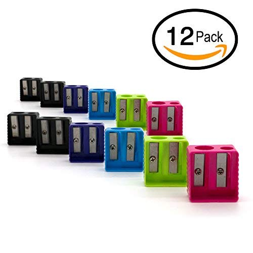 Emraw Super Great Dual Blades Square Sharpener for Regular and Oversize Pencils and Crayons- Great for School, Home, & Office (12 Pack)