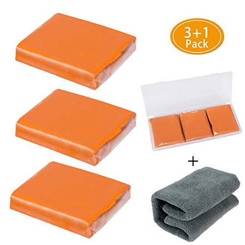 Aimocar Car Clay Bar Kit, 3 Pcs 100g Arcilla Coche Limpiadora Auto Detallado Limpiador de Arcilla con Capacidad de Lavado y adsorción para Limpiar Automóviles autobuses Barcos con 1 Toalla