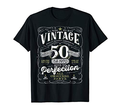 Vintage 50th Birthday Shirt For Him 1970 Aged To Perfection T-Shirt