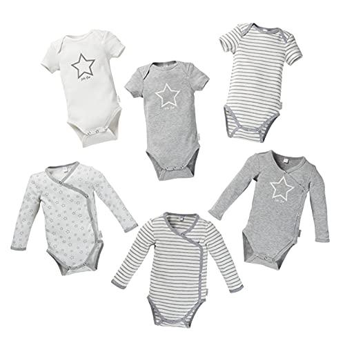 Fred's Baby Body Starter Set, 6er Pack mit Geschenkbox – Set aus kurz- und langarm Bodys in Geschenkverpackung – GOTS Bio Baumwolle – weiß/grau mit Muster aus Sternen oder Streifen (50/56, 0-3 Monate)