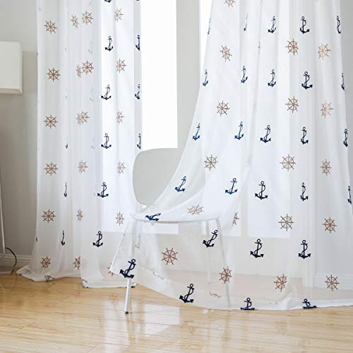 Taisier Home Anchor&Rudder Pattern Nautical Theme Embroidery Tulle Voile Door Window Room Sheer Curtains 2 Panels Embroidered Gauze Curtain 63 Inches Long for Bedroom,Grommet Top Style