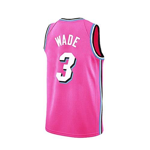 Ati nice Maglie da Basket Miami Heat # 3 Dwyane Tyrone Wade Retro Abbigliamento Sportivo Senza Maniche da Basket Fan Shirt Vest Uniformi Sportive Traspiranti estive,Rosa,XS: